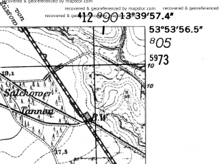 Reduced fragment of topographic map de--mb--025k--21_047-ams--(1952)--N053-54_E013-30--N053-48_E013-40