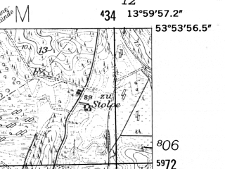 Reduced fragment of topographic map de--mb--025k--21_049-ams--(1952)--N053-54_E013-50--N053-48_E014-00