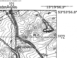 Reduced fragment of topographic map de--mb--025k--21_057-ams--(1952)--N053-54_E015-10--N053-48_E015-20; towns and cities Ploty