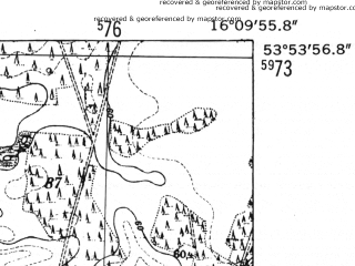Reduced fragment of topographic map de--mb--025k--21_062-ams--(1952)--N053-54_E016-00--N053-48_E016-10