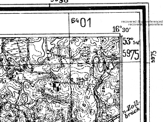 Reduced fragment of topographic map de--mb--025k--21_064--(1935)--N053-54_E016-20--N053-48_E016-30; towns and cities Grzmiaca