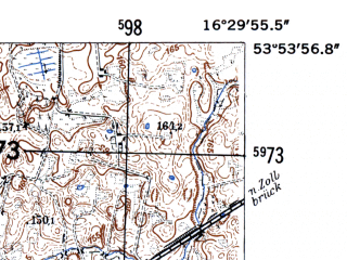 Reduced fragment of topographic map de--mb--025k--21_064-ams--(1952)--N053-54_E016-20--N053-48_E016-30; towns and cities Grzmiaca