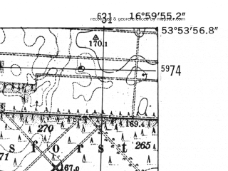 Reduced fragment of topographic map de--mb--025k--21_067-ams--(1952)--N053-54_E016-50--N053-48_E017-00; towns and cities Bialy Bor