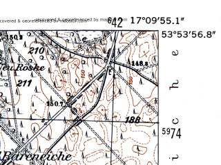 Reduced fragment of topographic map de--mb--025k--21_068-ams--(1952)--N053-54_E017-00--N053-48_E017-10