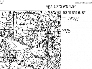 Reduced fragment of topographic map de--mb--025k--21_070-ams--(1952)--N053-54_E017-20--N053-48_E017-30