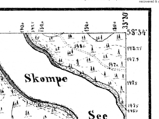 Reduced fragment of topographic map de--mb--025k--21_072--(1874)--N053-54_E017-40--N053-48_E017-50; towns and cities Brusy