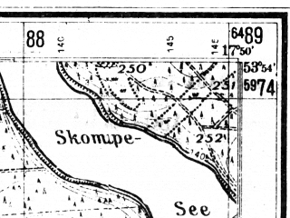 Reduced fragment of topographic map de--mb--025k--21_072--(1940)--N053-54_E017-40--N053-48_E017-50; towns and cities Brusy