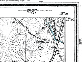 Reduced fragment of topographic map de--mb--025k--21_081--(1937)--N053-54_E019-10--N053-48_E019-20