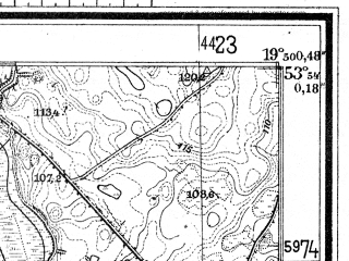Reduced fragment of topographic map de--mb--025k--21_084--(1944)--N053-54_E019-40--N053-48_E019-50