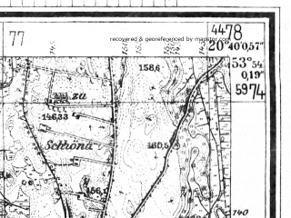 Reduced fragment of topographic map de--mb--025k--21_089--(1944)--N053-54_E020-30--N053-48_E020-40