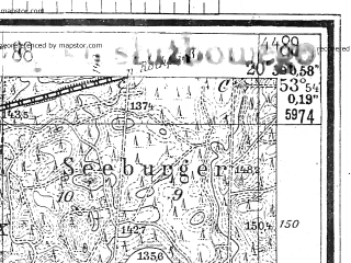 Reduced fragment of topographic map de--mb--025k--21_090--(1944)--N053-54_E020-40--N053-48_E020-50; towns and cities Barczewo