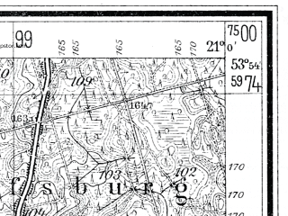 Reduced fragment of topographic map de--mb--025k--21_091--(1935)--N053-54_E020-50--N053-48_E021-00; towns and cities Biskupiec