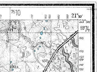 Reduced fragment of topographic map de--mb--025k--21_092--(1928)--N053-54_E021-00--N053-48_E021-10