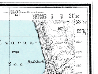 Reduced fragment of topographic map de--mb--025k--21_093--(1934)--N053-54_E021-10--N053-48_E021-20; towns and cities Mragowo