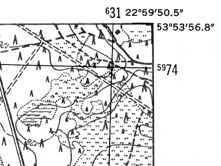 Reduced fragment of topographic map de--mb--025k--21_103-ams--(1952)--N053-54_E022-50--N053-48_E023-00; towns and cities Augustow