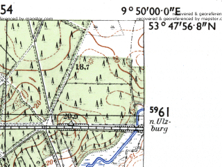 Reduced fragment of topographic map de--mb--025k--22_024-ams--(1955)--N053-48_E009-40--N053-42_E009-50