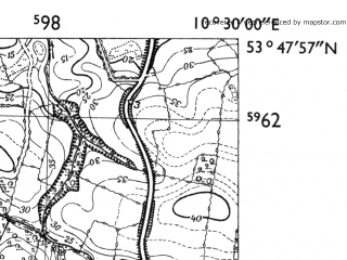 Reduced fragment of topographic map de--mb--025k--22_028-ams--(1955)--N053-48_E010-20--N053-42_E010-30