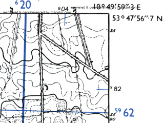 Reduced fragment of topographic map de--mb--025k--22_030-ams--(1955)--N053-48_E010-40--N053-42_E010-50