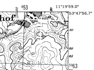 Reduced fragment of topographic map de--mb--025k--22_033-ams--(1952)--N053-48_E011-10--N053-42_E011-20