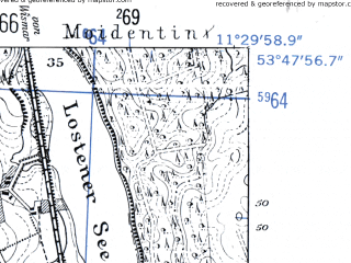 Reduced fragment of topographic map de--mb--025k--22_034-ams--(1952)--N053-48_E011-20--N053-42_E011-30