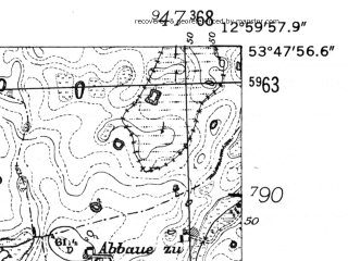 Reduced fragment of topographic map de--mb--025k--22_043-ams--(1952)--N053-48_E012-50--N053-42_E013-00