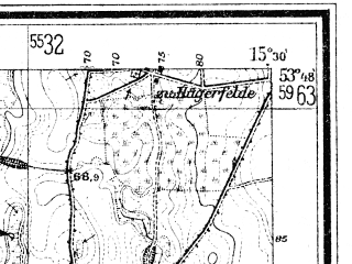 Reduced fragment of topographic map de--mb--025k--22_058--(1948)--N053-48_E015-20--N053-42_E015-30; towns and cities Resko