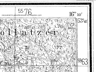 Reduced fragment of topographic map de--mb--025k--22_062--(1936)--N053-48_E016-00--N053-42_E016-10; towns and cities Polczyn-zdroj