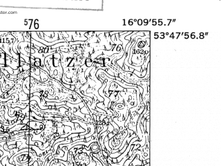Reduced fragment of topographic map de--mb--025k--22_062-ams--(1952)--N053-48_E016-00--N053-42_E016-10; towns and cities Polczyn-zdroj