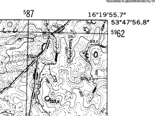 Reduced fragment of topographic map de--mb--025k--22_063-ams--(1952)--N053-48_E016-10--N053-42_E016-20