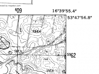 Reduced fragment of topographic map de--mb--025k--22_065-ams--(1952)--N053-48_E016-30--N053-42_E016-40