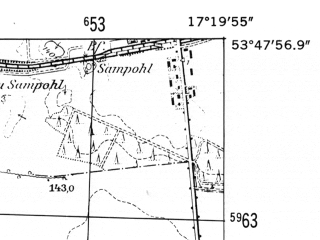 Reduced fragment of topographic map de--mb--025k--22_069-ams--(1952)--N053-48_E017-10--N053-42_E017-20