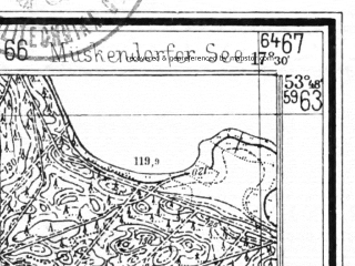 Reduced fragment of topographic map de--mb--025k--22_070--(1940)--N053-48_E017-20--N053-42_E017-30