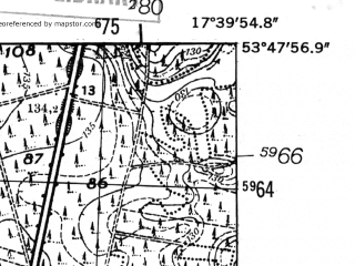 Reduced fragment of topographic map de--mb--025k--22_071-ams--(1952)--N053-48_E017-30--N053-42_E017-40
