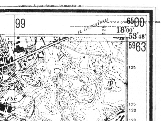 Reduced fragment of topographic map de--mb--025k--22_073--(1940)--N053-48_E017-50--N053-42_E018-00; towns and cities Czersk