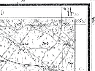 Reduced fragment of topographic map de--mb--025k--22_082--(1938)--N053-48_E019-20--N053-42_E019-30