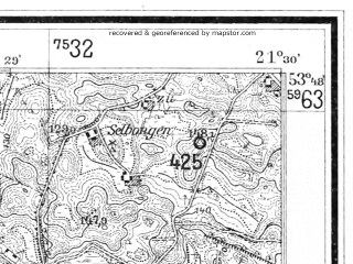 Reduced fragment of topographic map de--mb--025k--22_094--(1928)--N053-48_E021-20--N053-42_E021-30