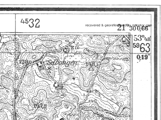 Reduced fragment of topographic map de--mb--025k--22_094--(1944)--N053-48_E021-20--N053-42_E021-30