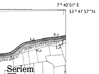 Reduced fragment of topographic map de--mb--025k--23_011-ams--(1955)--N053-42_E007-30--N053-36_E007-40; towns and cities Esens