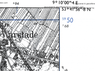Reduced fragment of topographic map de--mb--025k--23_020-ams--(1955)--N053-42_E009-00--N053-36_E009-10