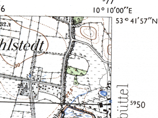 Reduced fragment of topographic map de--mb--025k--23_026-ams--(1955)--N053-42_E010-00--N053-36_E010-10; towns and cities Norderstedt