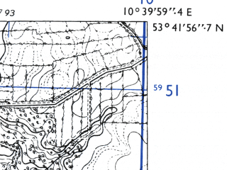Reduced fragment of topographic map de--mb--025k--23_029-ams--(1955)--N053-42_E010-30--N053-36_E010-40