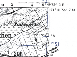 Reduced fragment of topographic map de--mb--025k--23_030-ams--(1955)--N053-42_E010-40--N053-36_E010-50; towns and cities Ratzeburg