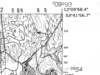 Reduced fragment of topographic map de--mb--025k--23_038-ams--(1952)--N053-42_E012-00--N053-36_E012-10