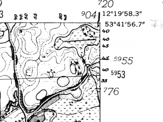 Reduced fragment of topographic map de--mb--025k--23_039-ams--(1952)--N053-42_E012-10--N053-36_E012-20