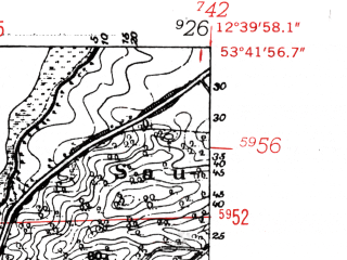 Reduced fragment of topographic map de--mb--025k--23_041-ams--(1952)--N053-42_E012-30--N053-36_E012-40