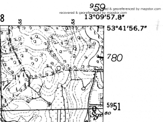 Reduced fragment of topographic map de--mb--025k--23_044-ams--(1952)--N053-42_E013-00--N053-36_E013-10