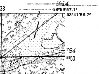 Reduced fragment of topographic map de--mb--025k--23_049-ams--(1952)--N053-42_E013-50--N053-36_E014-00