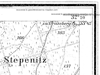 Reduced fragment of topographic map de--mb--025k--23_053--(1900)--N053-42_E014-30--N053-36_E014-40; towns and cities Stepnica