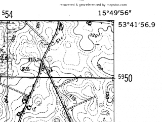 Reduced fragment of topographic map de--mb--025k--23_060-ams--(1952)--N053-42_E015-40--N053-36_E015-50