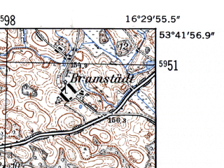 Reduced fragment of topographic map de--mb--025k--23_064-ams--(1952)--N053-42_E016-20--N053-36_E016-30